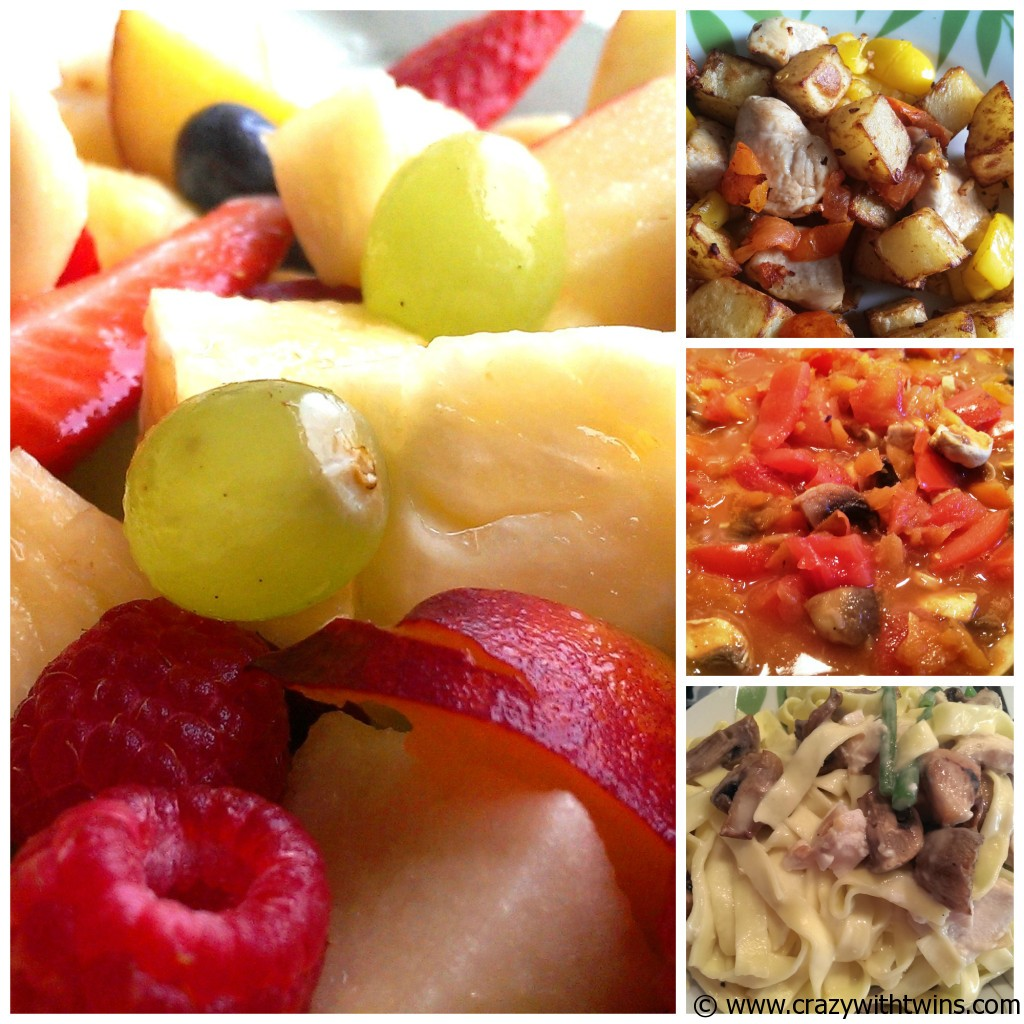 Some of what we'll be making in Fresh Week... Fruit Salad,  Parmentiers with chicken, yellow peppers & tomato, Pasta with mushrooms, chicken and green beans!