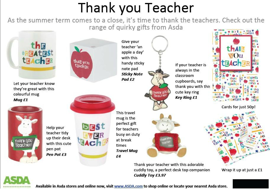 Asda Teacher Gifts