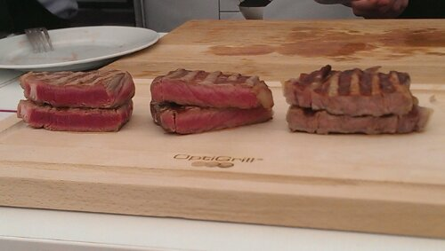 Steaks cooked rare, medium and well done, using the original Tefal OptiGrill