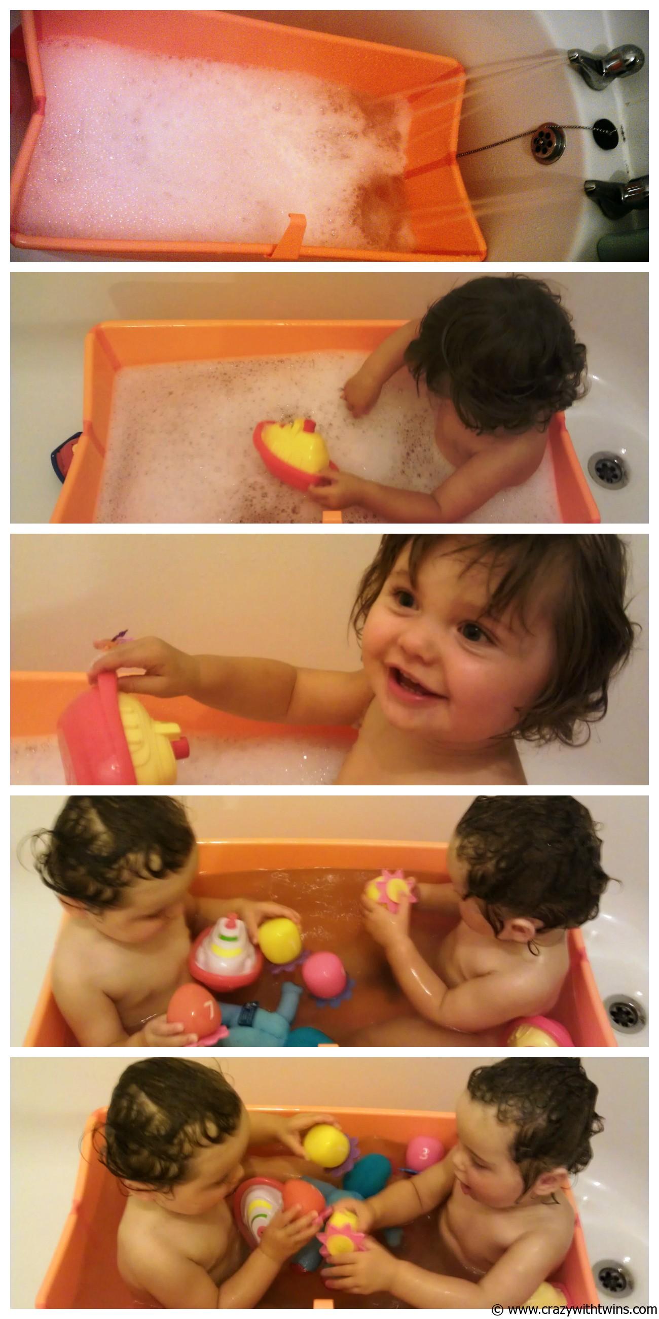 Twins in the Stokke Flexi Bath