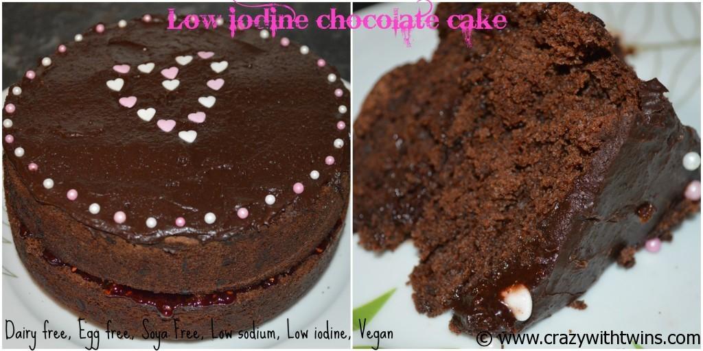Low iodine choc cake