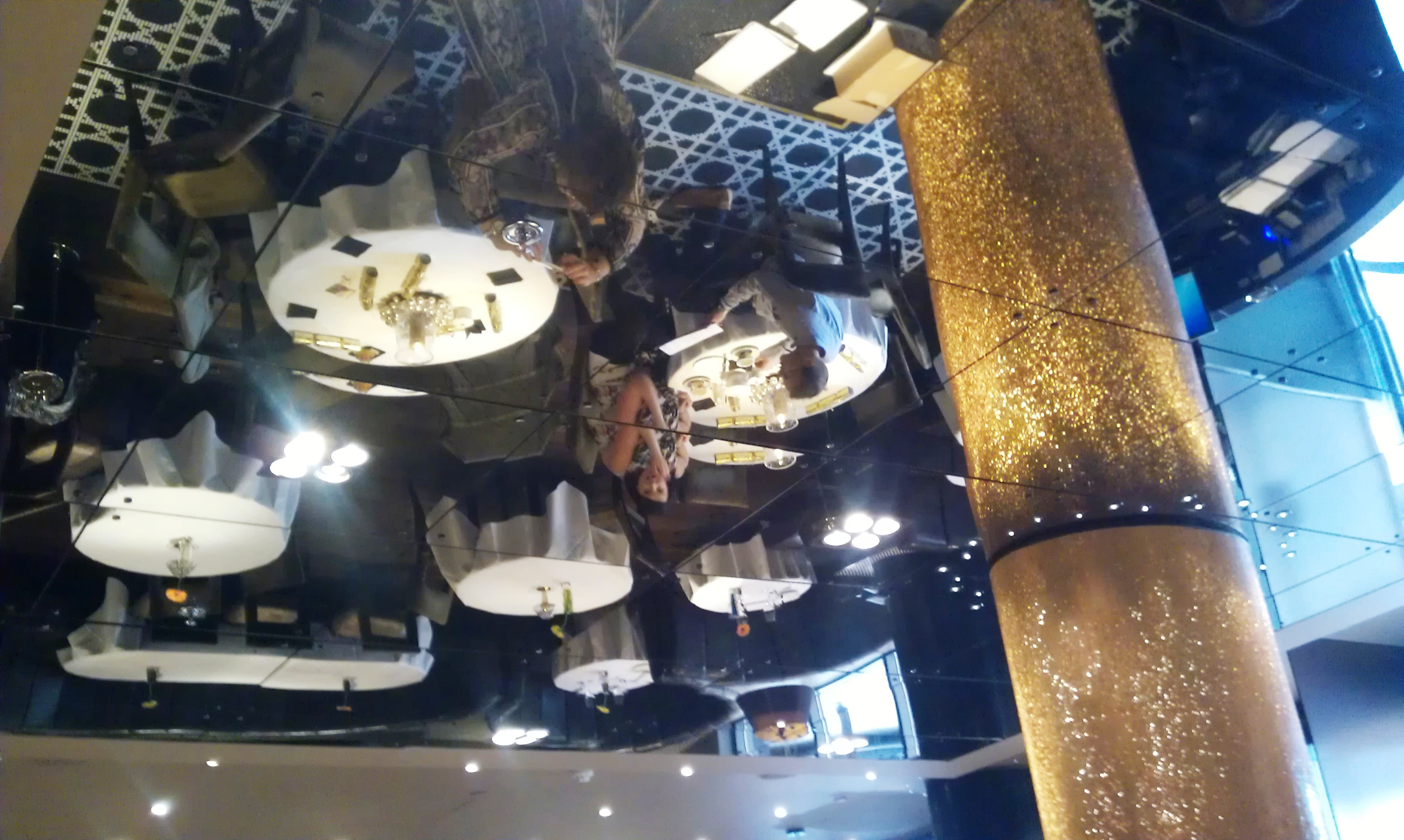 mirrored restaurant ceiling