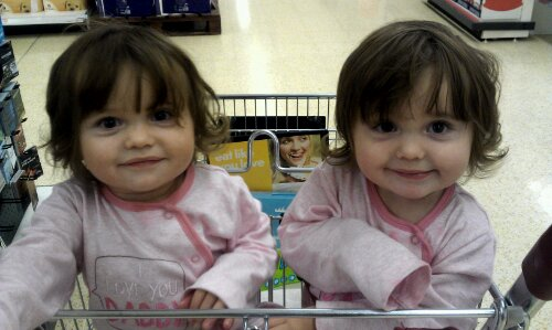 twins in shopping trolley, two year development check