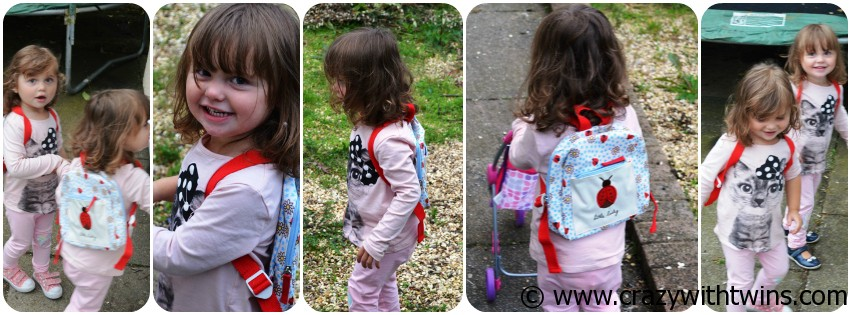 Pink Lining Mini Rucksack modelled by twins
