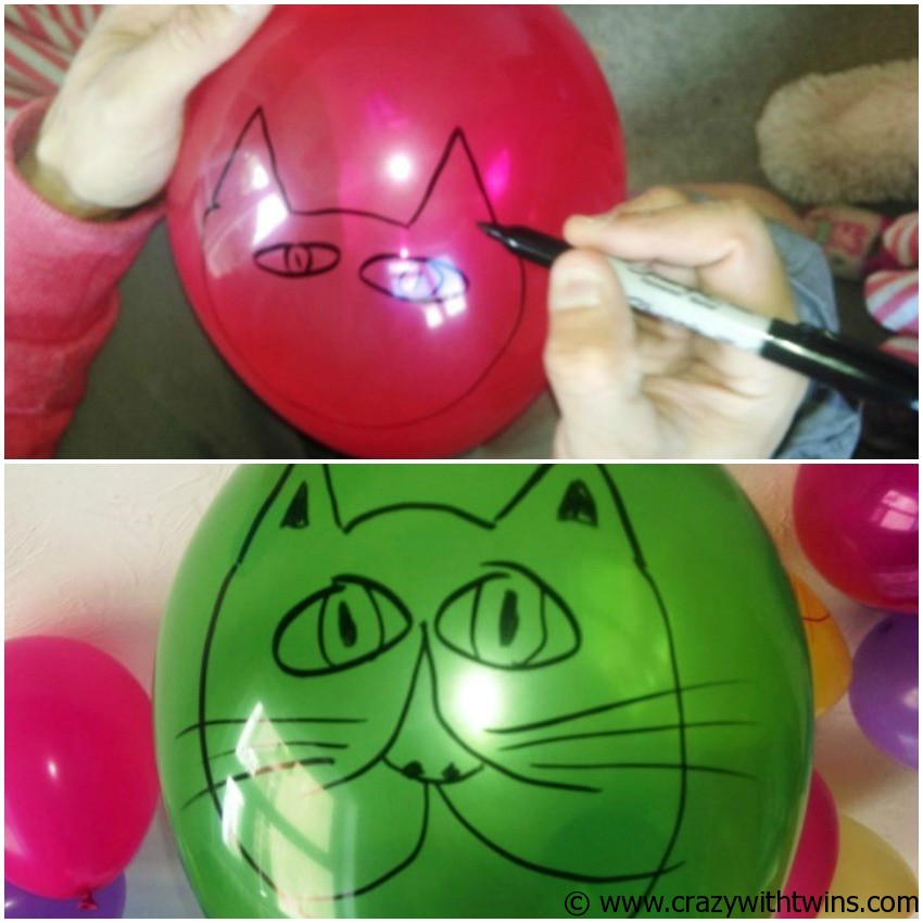 Drawing cats on balloons