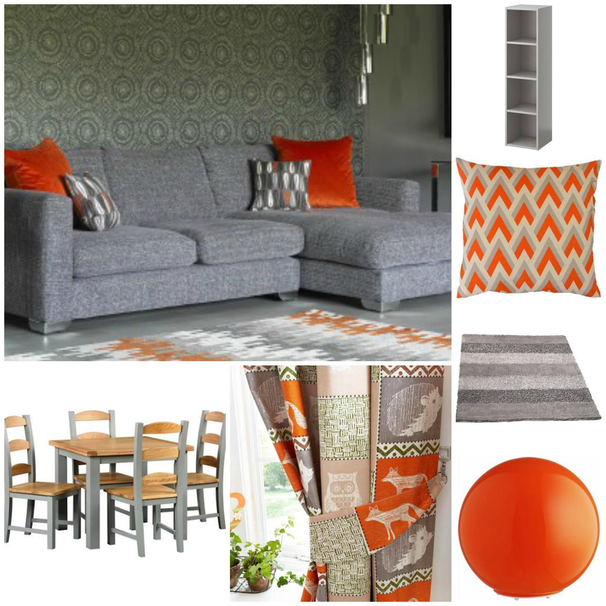 mood board, grey and orange, living room