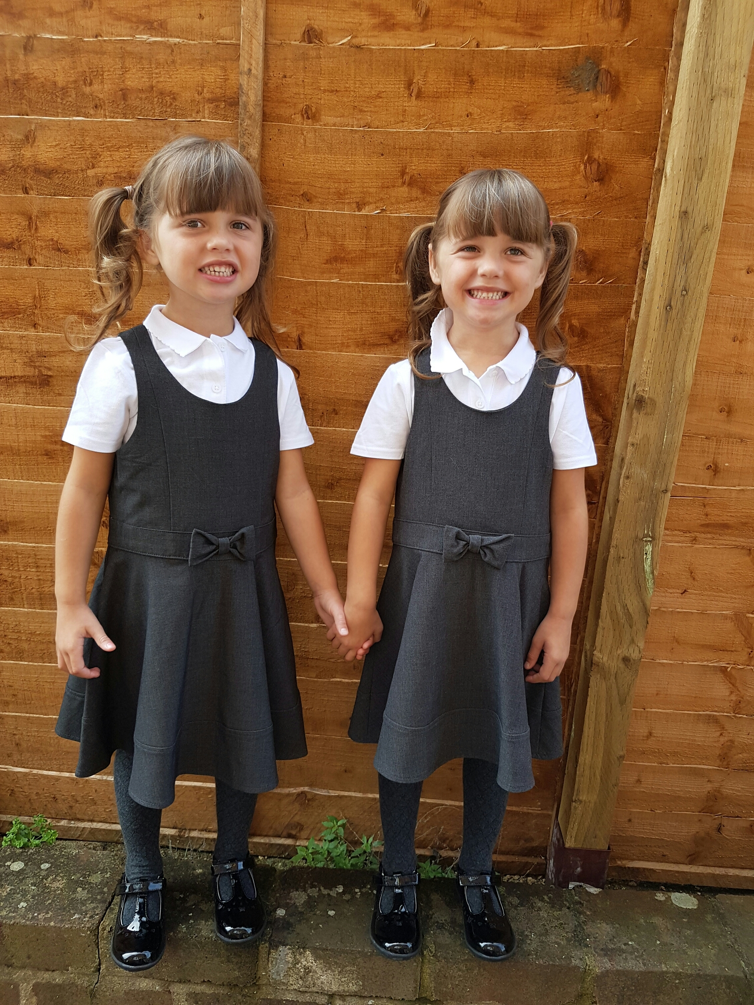 The day my twins started school. Obligatory first day of school photo of my twins holding hands by the garden fence.