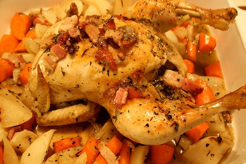 """Chicken Roasted with Turnips and Carrots"" (CC BY 2.0) by naotakem"