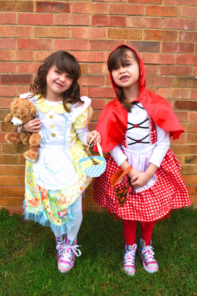world book day, world book day 2018, little red riding hood, goldilocks, goldilocks and the three bears, twins world book day, world book day costumes for twins, 5 year old twins fancy dress, fairytale fancy dress