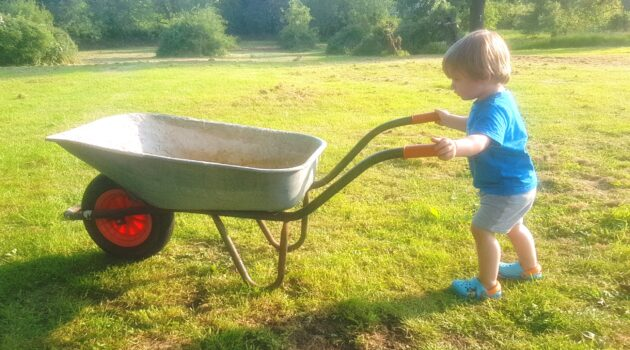 Toddler pushing a wheelbarrow across a field, Garden shopping list, children gardening, toddler gardening, home improvements