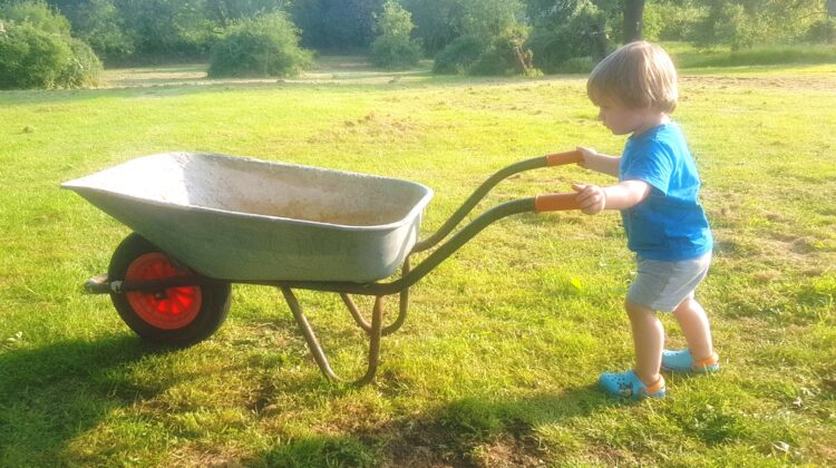 Toddler pushing a wheelbarrow across a field, Garden shopping list, children gardening, toddler gardening, home improvements