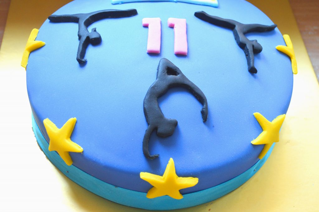 gymnastics birthday cake, 11th birthday cake, homemade birthday cake,