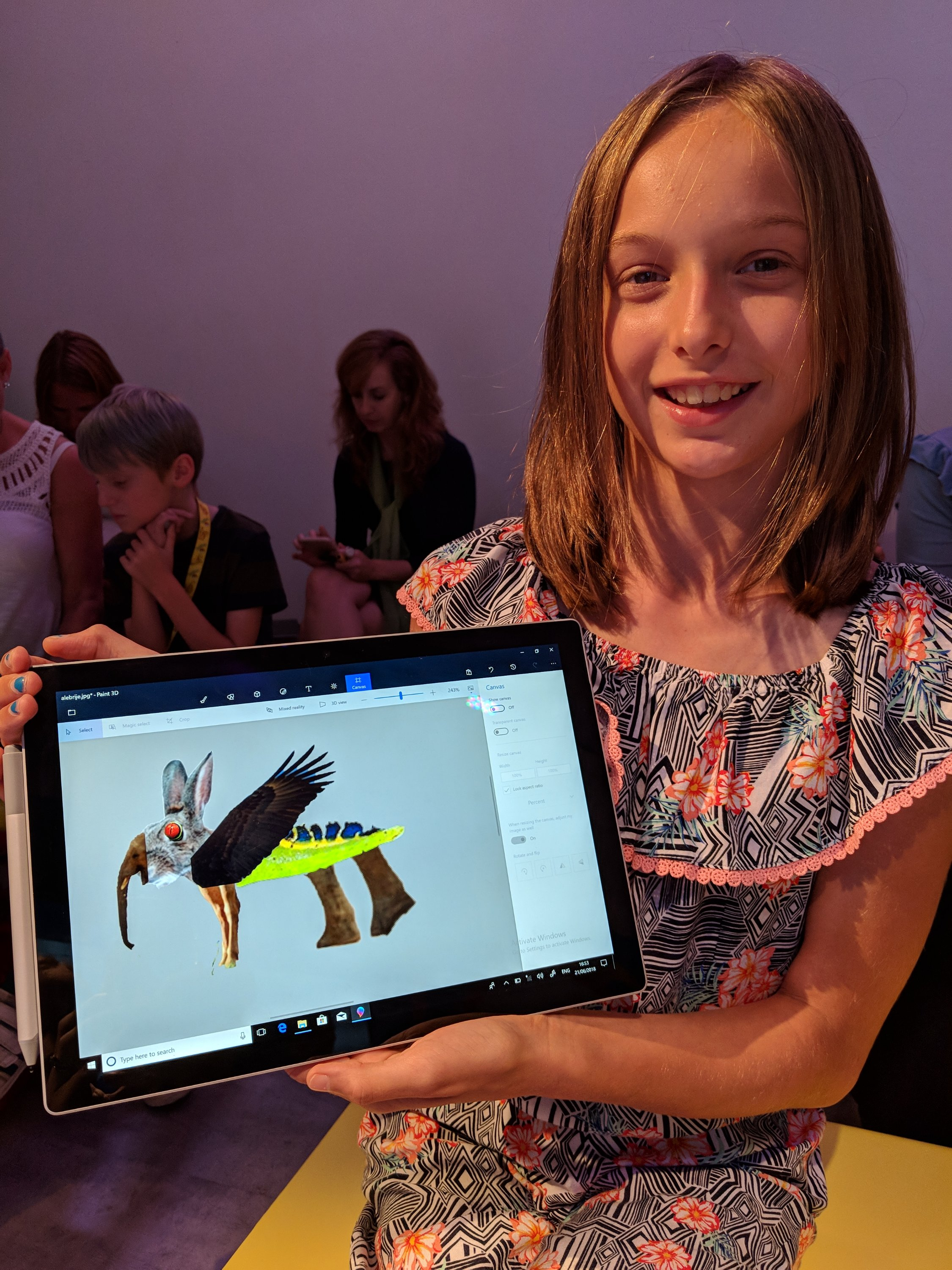 Art creation made with Paint 3D software on the new Microsoft Surface Go