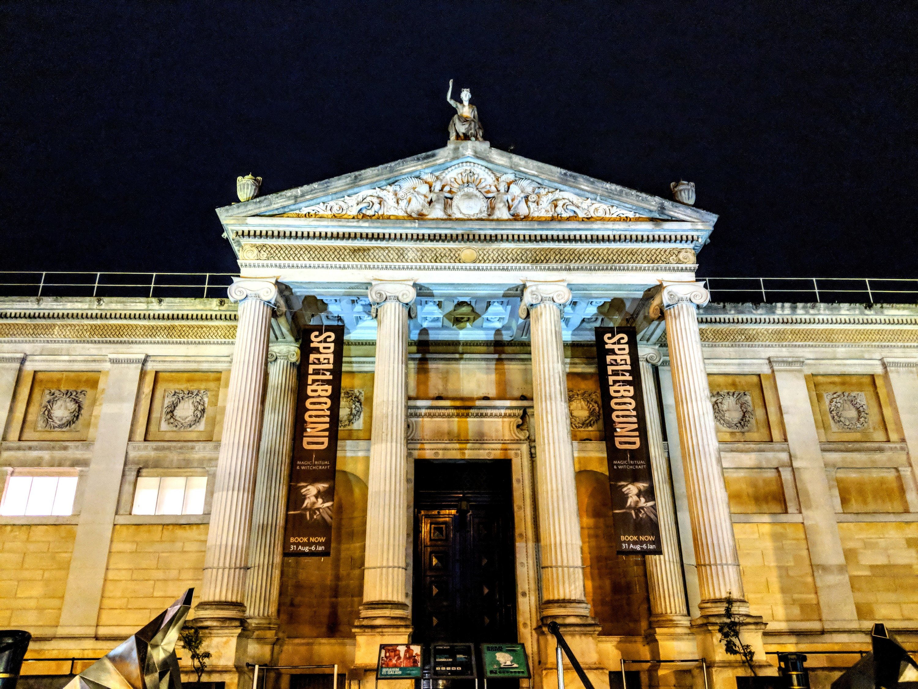 Spellbound exhibition at the Ashmolean in Oxford. This grand building looks extra special at night with the pillars all lit up. My visit to the Ashmolean was prior to a private screening of the very first episode of A Discovery of Witches TV series