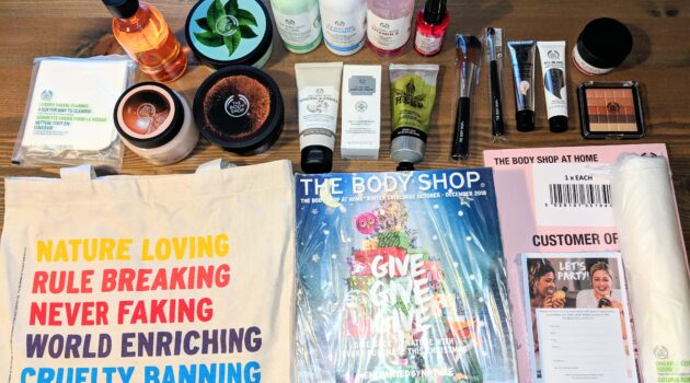 The Body Shop at Home Consultant Starter Kit. This is all the kit I received, when I became a Body Shop at Home consultant in November 2018. My kit has vastly increased since this picture, due to being sent rewards for hitting sales targets.