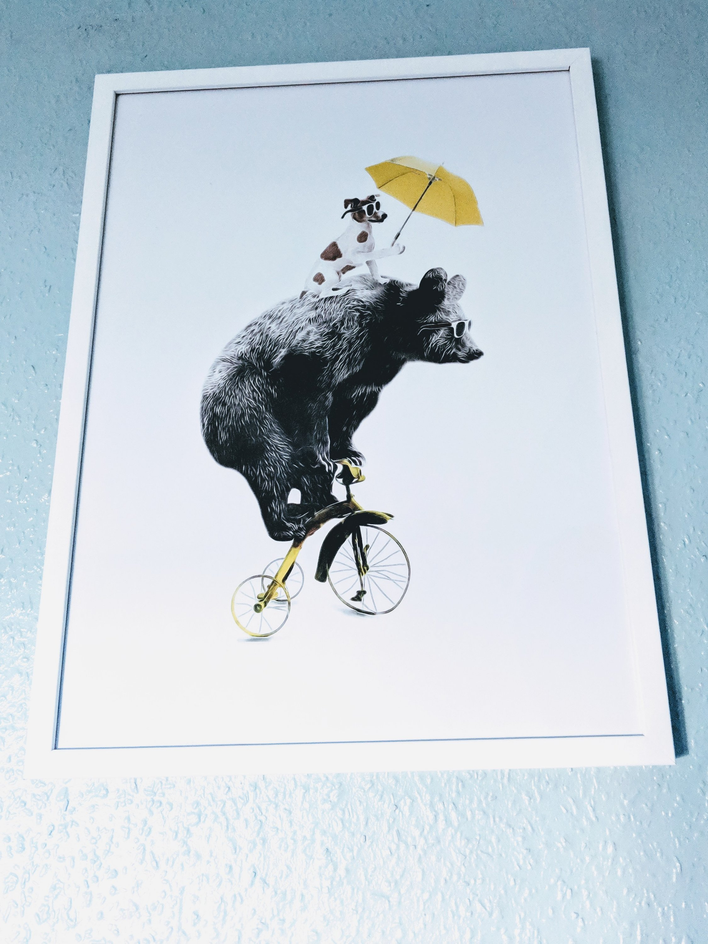 Bear on a Yellow Bike framed print from Desenio affordable art, posters, prints and frames