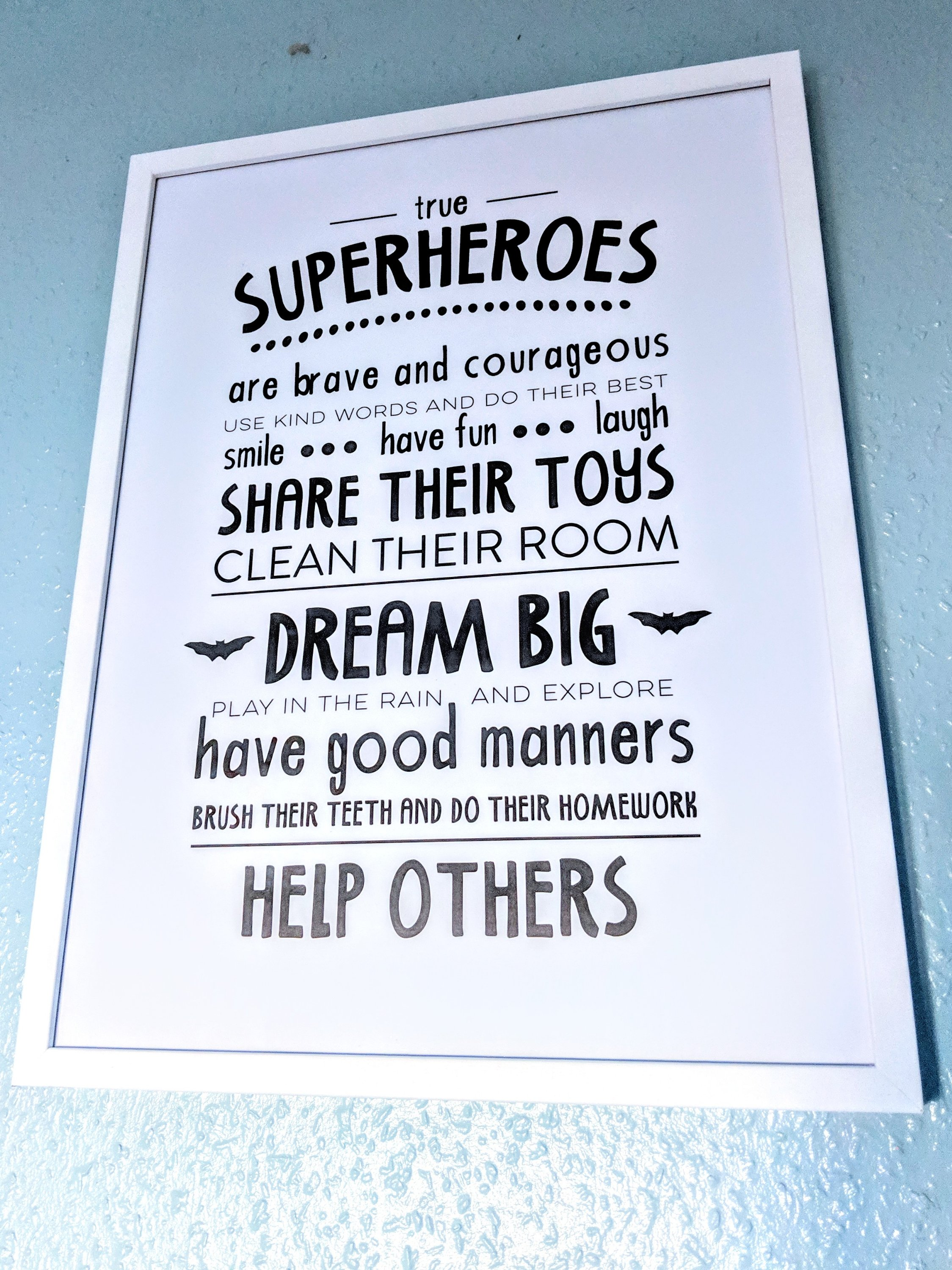 Rules of a Superhero framed print from Desenio affordable art, posters, prints and frames