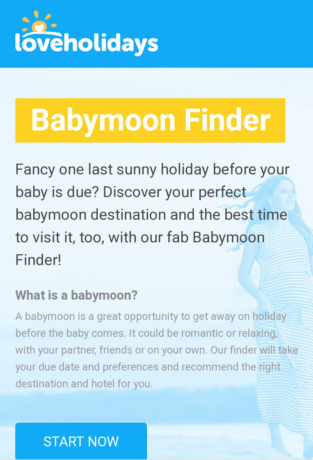 Image of the LoveHolidays Babymoon Finder. Part of a blog post on Babymoon Tips - Things to consider when planning a babymoon