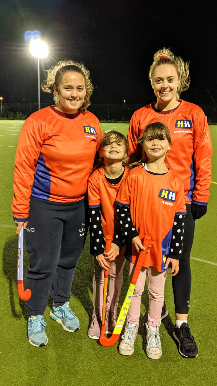 Hockey Heroes with their Hockey Champions at the end of a training session with England Hockey's Hockey Heroes programme