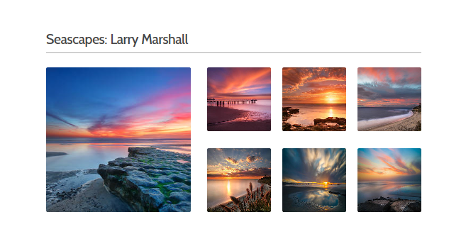 Collection of 7 images of ocean sunsets which are part of Seascapes Collection by Larry Marshall - Available from Fine Art America