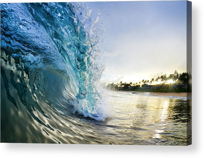 Image of the sunrise catching a rolling ocean wave close to the shore. This piece of art is called Golden Mile by Sean Davies and is available to purchase from Fine Art America